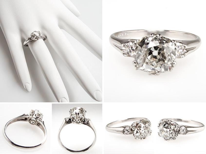 old miner cut diamond rings